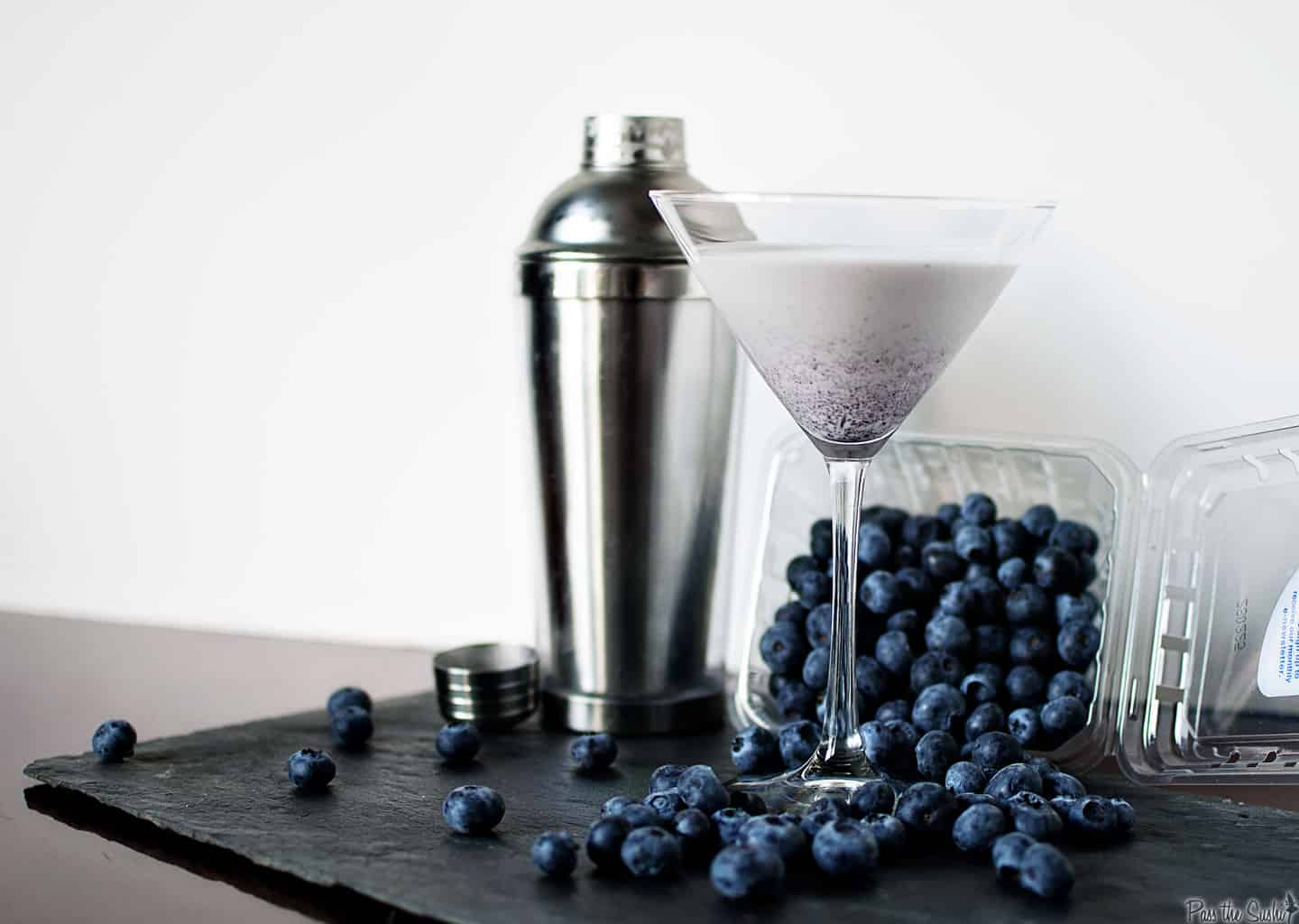 Blueberry cheesecake comes alive in a classic martini. This sweet cocktail is just what the crazy day ordered. \\ PassTheSushi.com