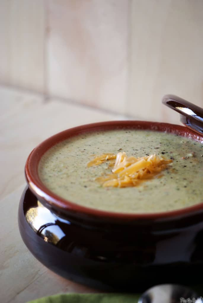 Broccoli cheddar soup is thick, creamy, and comforting. This homemade soup is a Panera copy cat recipe. | PassTheSushi.com