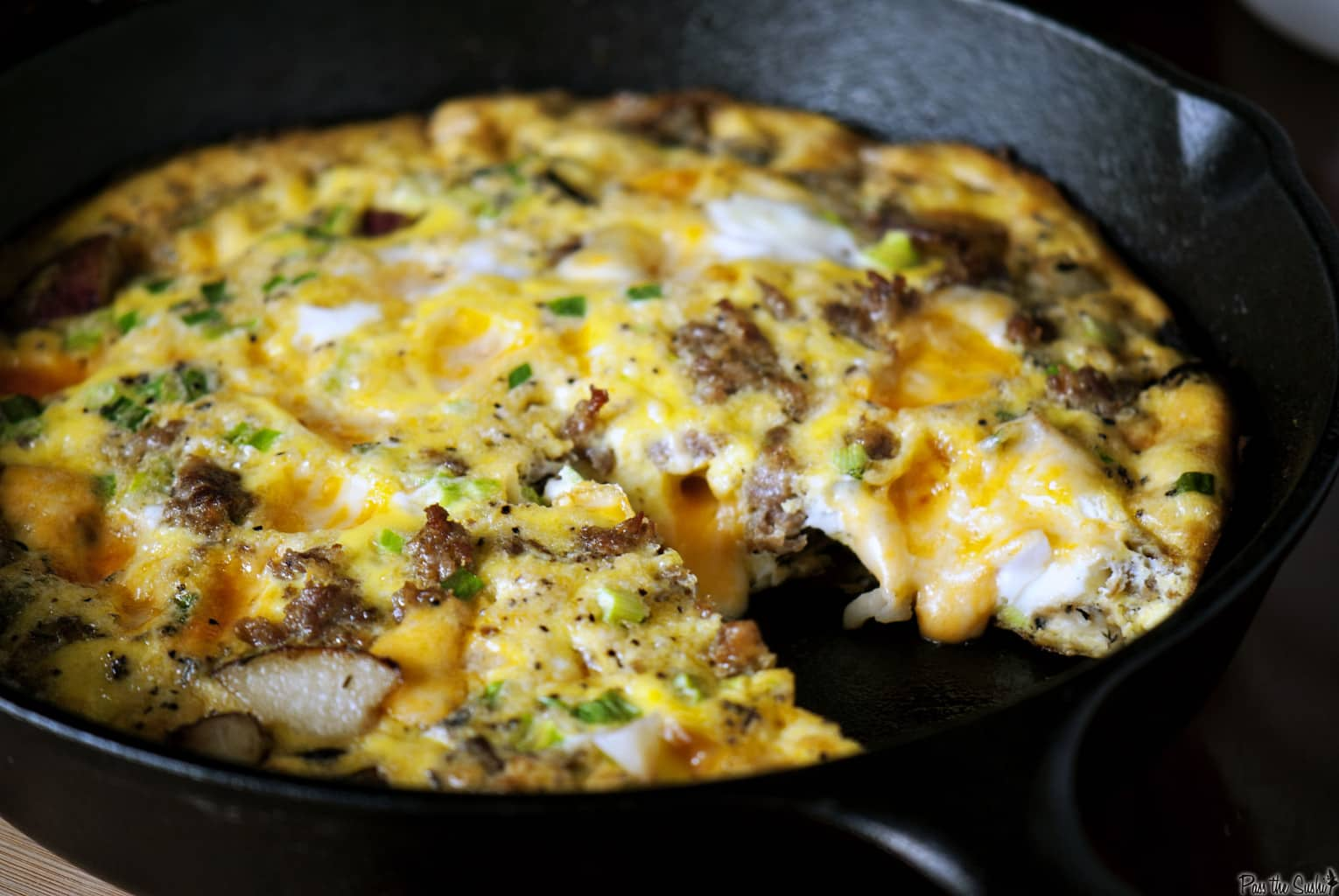 Potato frittata is the perfect breakfast, brunch, or dinner recipe. This frittata is loaded with pork sausage, potatoes, cheese and onions. \\ PassTheSushi.com