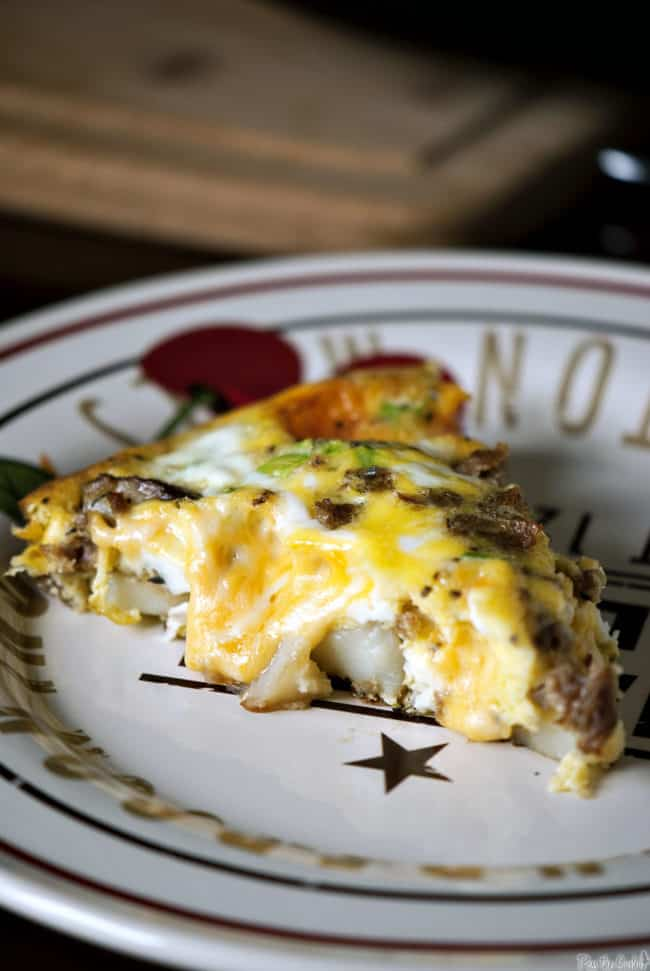 Potato frittata is the perfect breakfast, brunch, or dinner recipe. This frittata is loaded with pork sausage, potatoes, cheese and onions. PassTheSushi.com