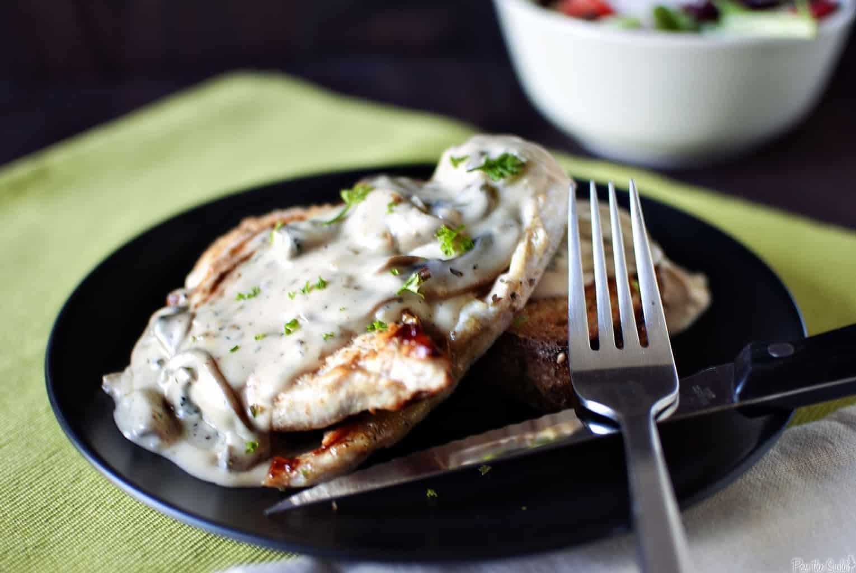 Open-Faced Hot Chicken Sandwiches with Creamy Mushroom Gravy \\ PassTheSushi.com
