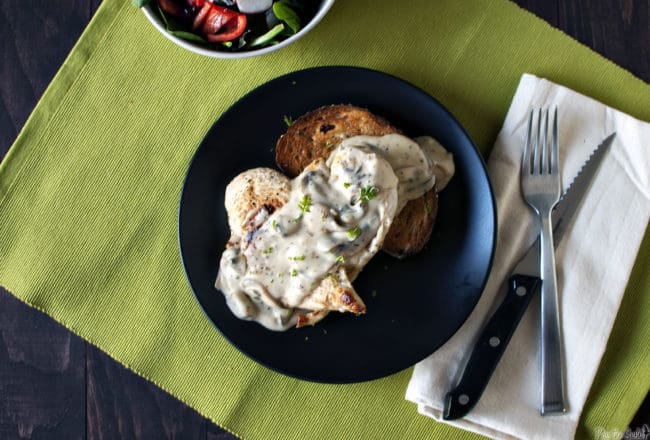 Open-Faced Hot Chicken Sandwiches with Creamy Mushroom Gravy \\ PassTheSushi.com