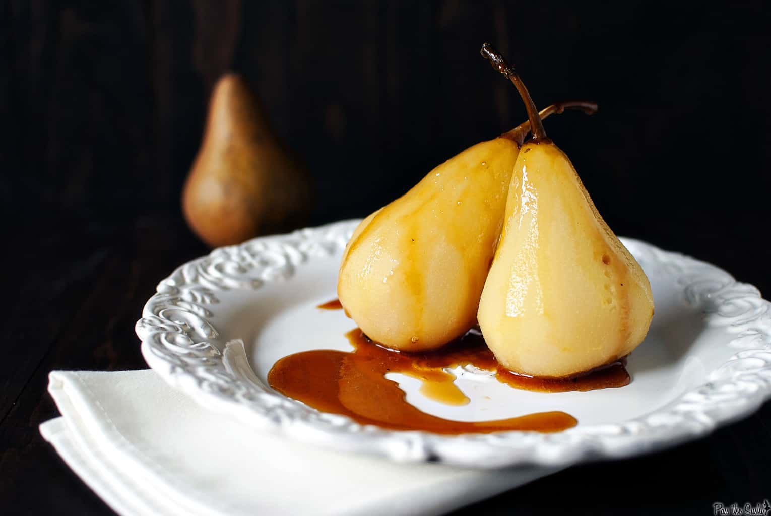 Citrus-Wine Poached Pears