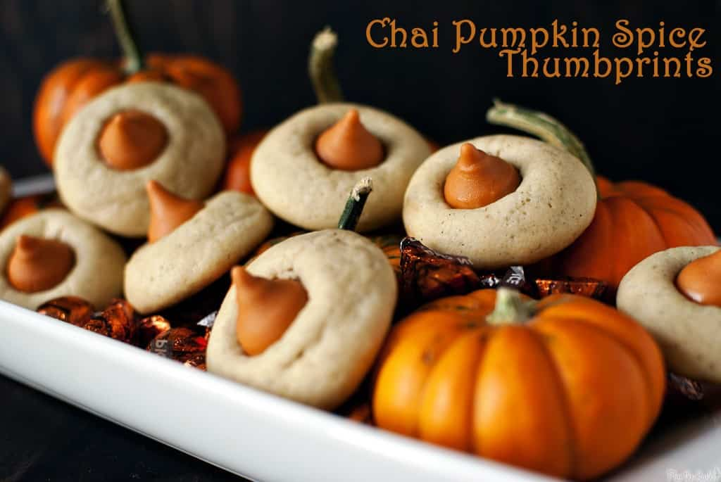 Chai pumpkin spice thumbprints are tiny cookies with great big taste! Flavors of pumpkin and chai pair with soft, chewy cookies to make the perfect fall treat!  PassTheSushi.com