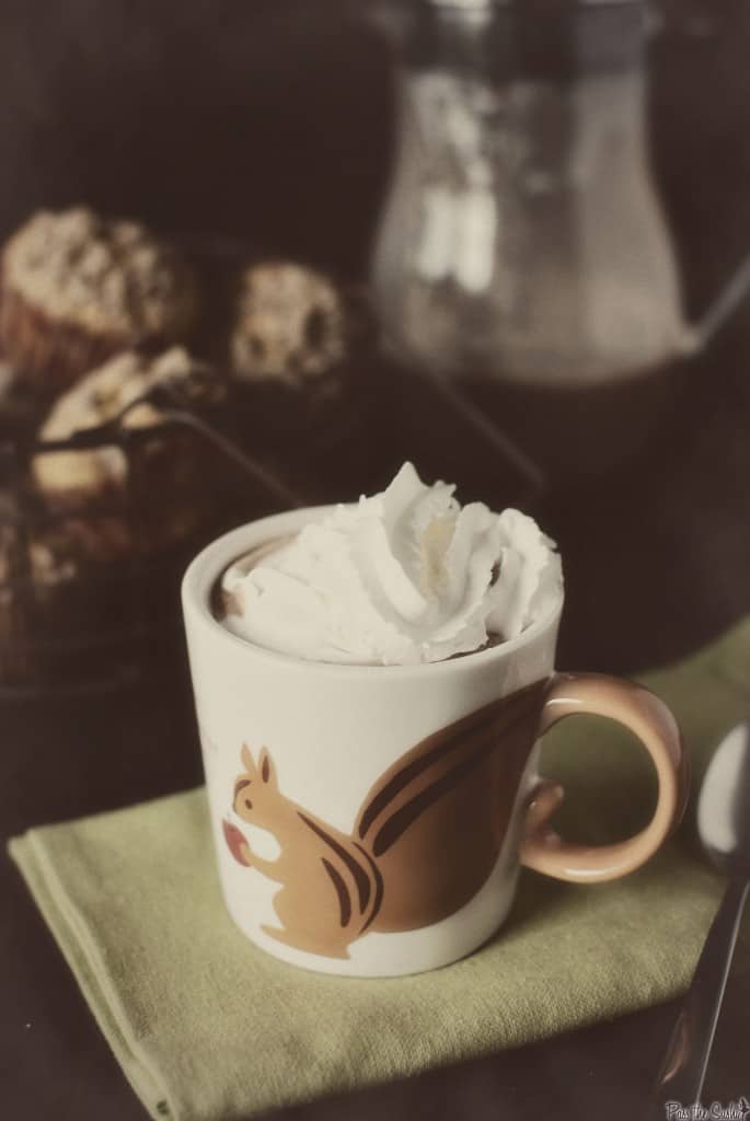 Pumpkin pie cocoa is the perfect warmer-upper for Thanksgiving. Rich hot chocolate, with the spices and whipped cream of pumpkin pie! \\ PassTheSushi.com