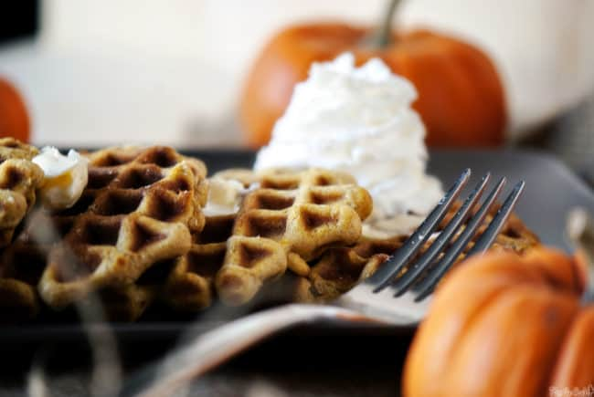 Pumpkin pie waffles are the perfect weekend breakfast. With pumpkin, cinnamon, ginger and clove, these waffles are a taste of fall!