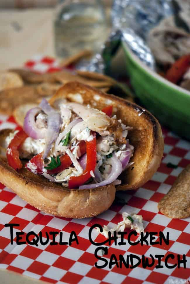 Tequila chicken sandwiches have sweet and spicy peppers, onions, quick pulled rotisserie chicken, melted gooey cheese, and liquor, all on a soft bun. | PassTheSushi.com