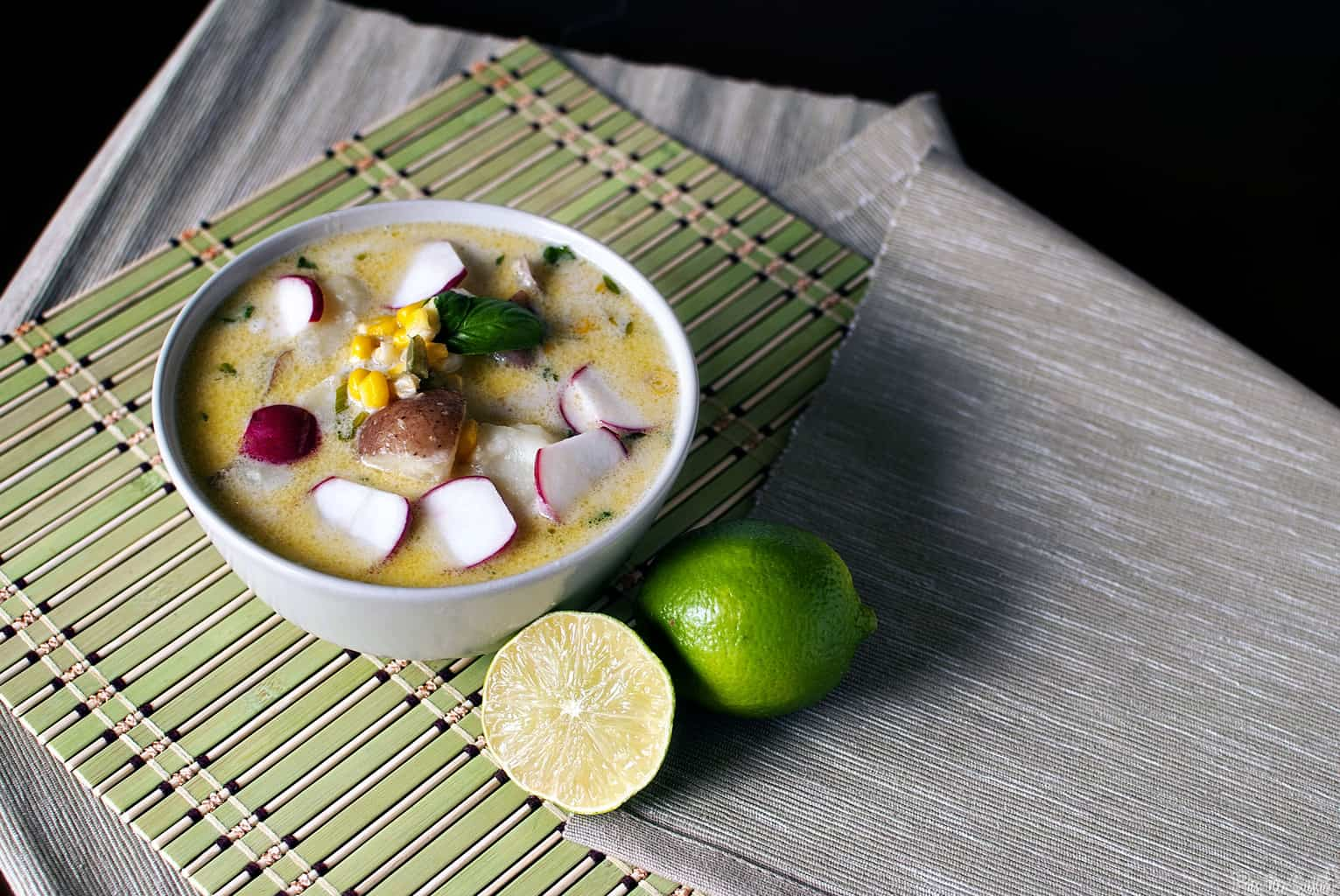 Thai corn chowder is comfort food in a bowl! This creamy, hearty soup has a tingle of heat to warm you up from the inside out. \\ PassTheSushi.com