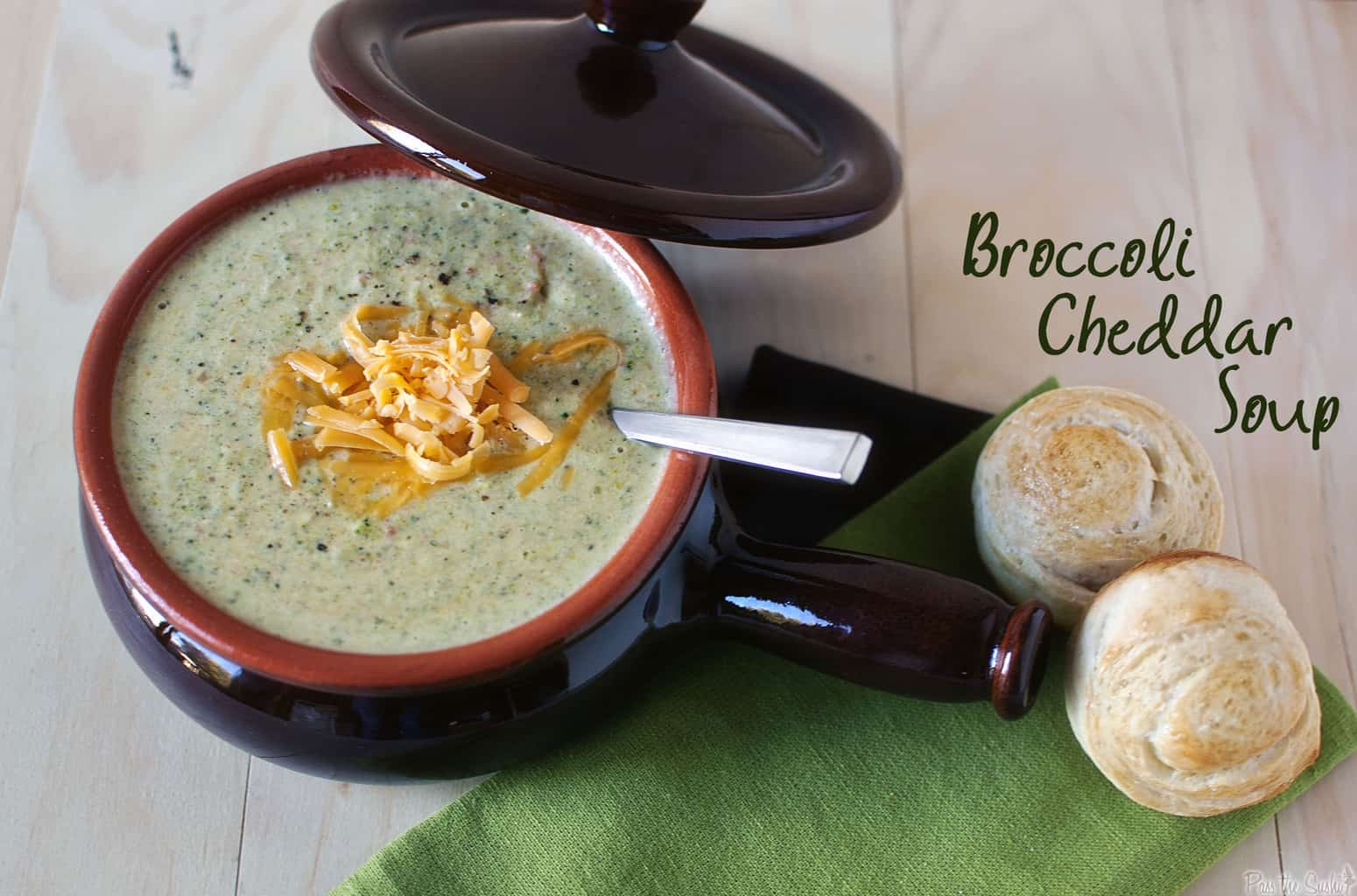Broccoli cheddar soup is thick, creamy, and comforting. This homemade soup is a Panera copy cat recipe.   PassTheSushi.com