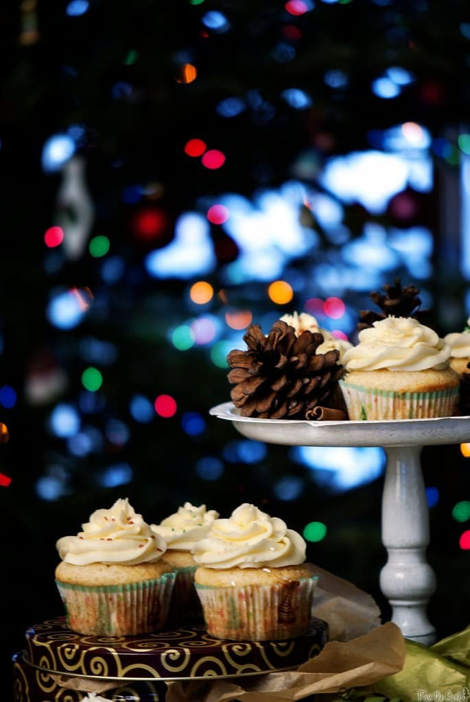 Eggnog cupcakes are an easy Christmas dessert recipe that everyone will want seconds of! Top them off with fluffy eggnog frosting and you have a delicious treat! | PassTheSushi.com