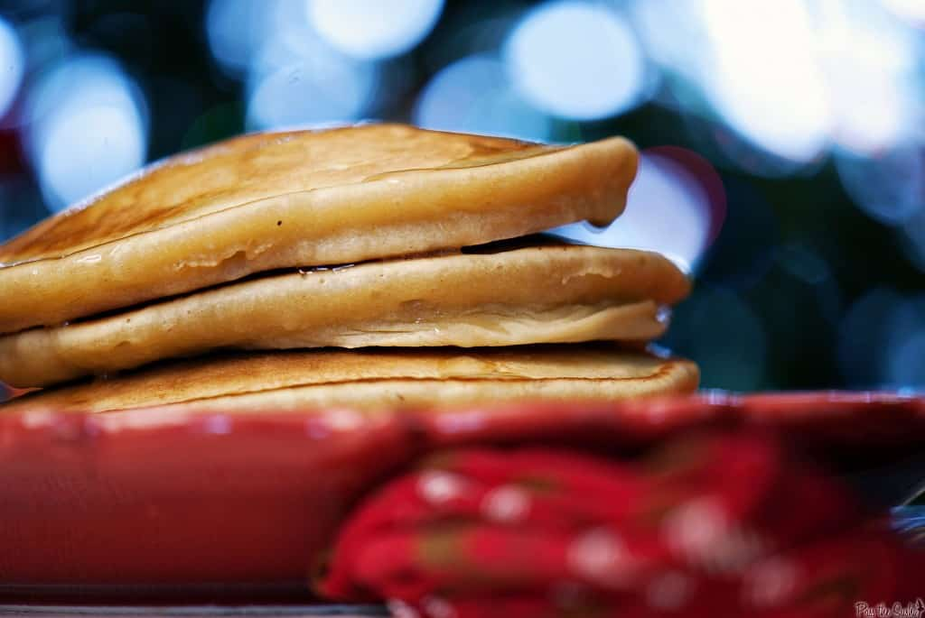 Eggnog pancakes can be enjoyed as part of your Christmas breakfast, or really, any time at all. Even after the holidays are over! | PassTheSushi.com