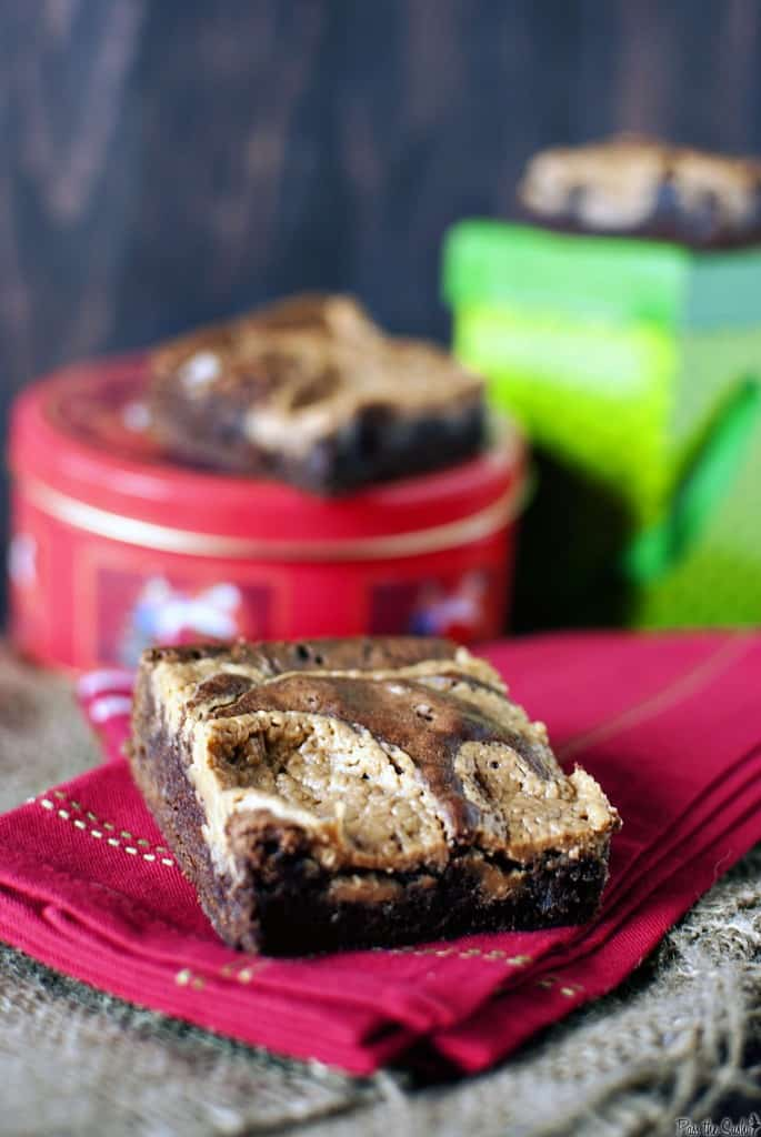 Peanut butter brownies are an easy-to-make, irresistible dessert. The combination of fudgy chocolate brownies with creamy peanut butter will fix any sweet tooth. | PassTheSushi.com