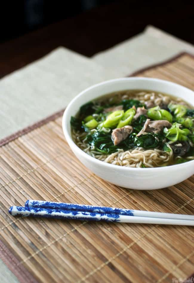 Ramen noodle soup is a comfort food favorite. This ramen recipe uses Japanese flavors to season tender pieces of pork, scallions, ginger, and spinach.