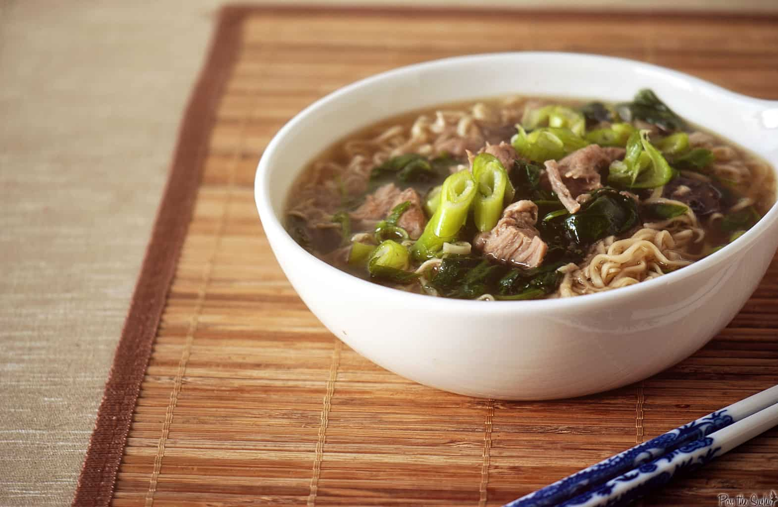 Japanese Pork Ramen Soup {Slow Cooker Recipe} - Pass The Sushi
