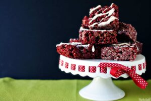 Red velvet krispy treats are a chocolaty version of classic rice Krispies treats. Festive enough for the holidays, but delicious enough to eat any time of the year.