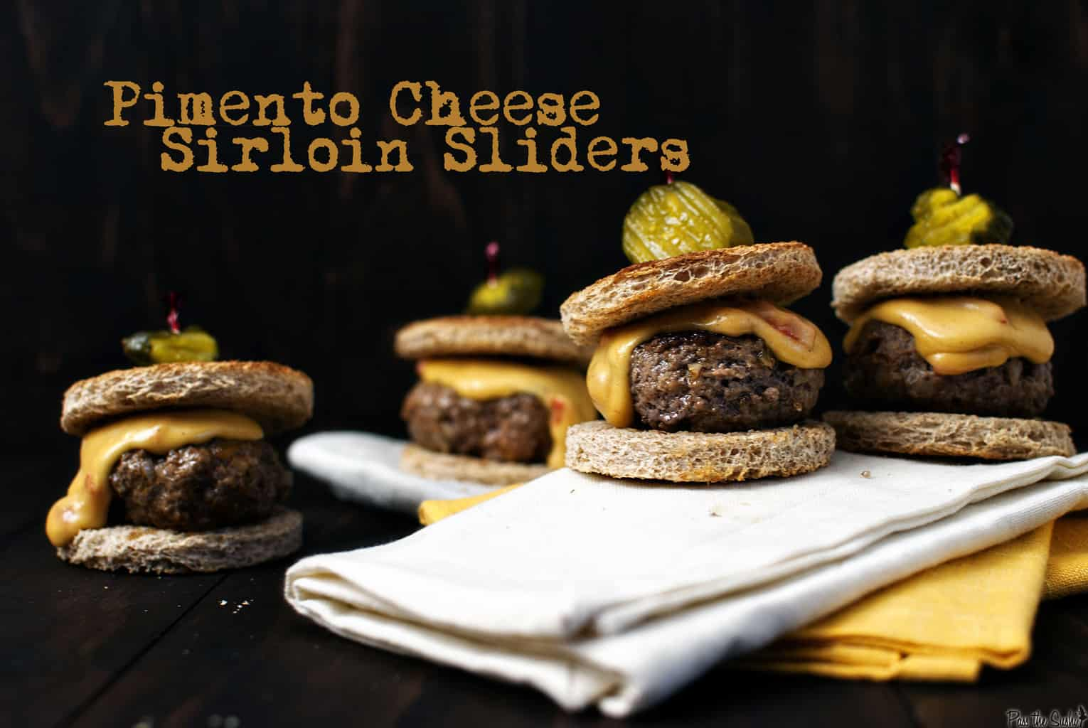 Pimento cheese sirloin sliders are a delicious and easy New Year's Eve appetizer. Also the perfect snacks during the New Year's Day football games!   PassTheSushi.com