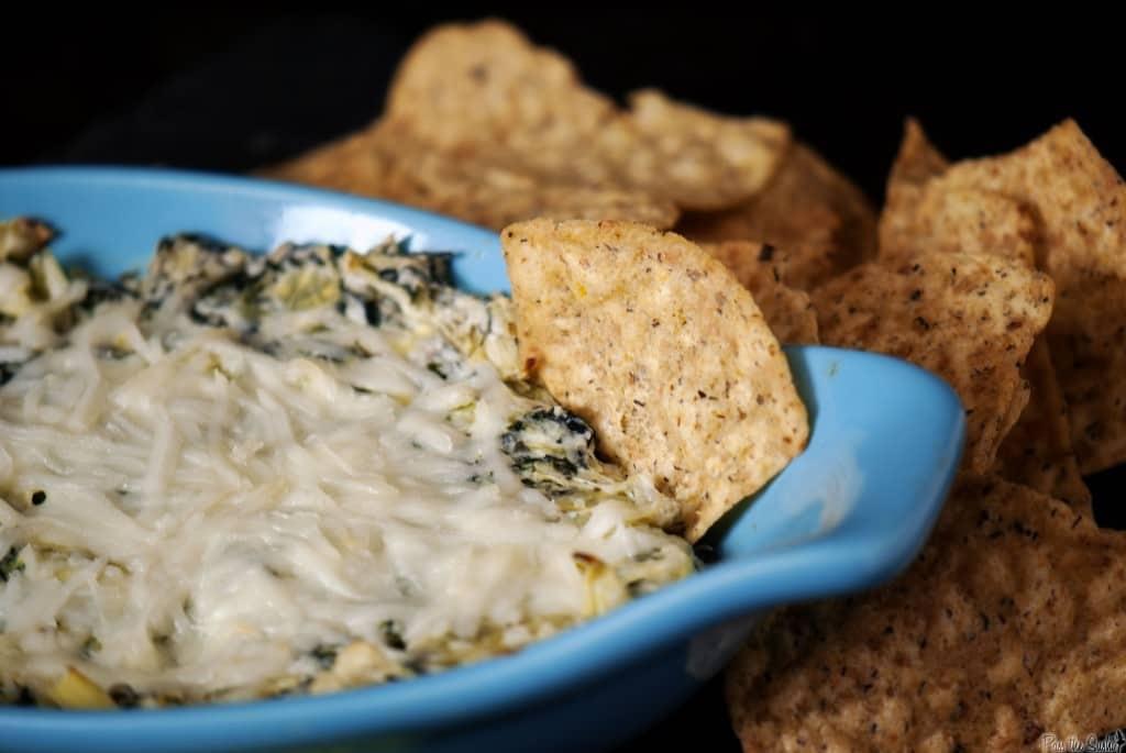 Spinach artichoke dip with Tortilla Chips by Kita Roberts | PassTheSushi.com