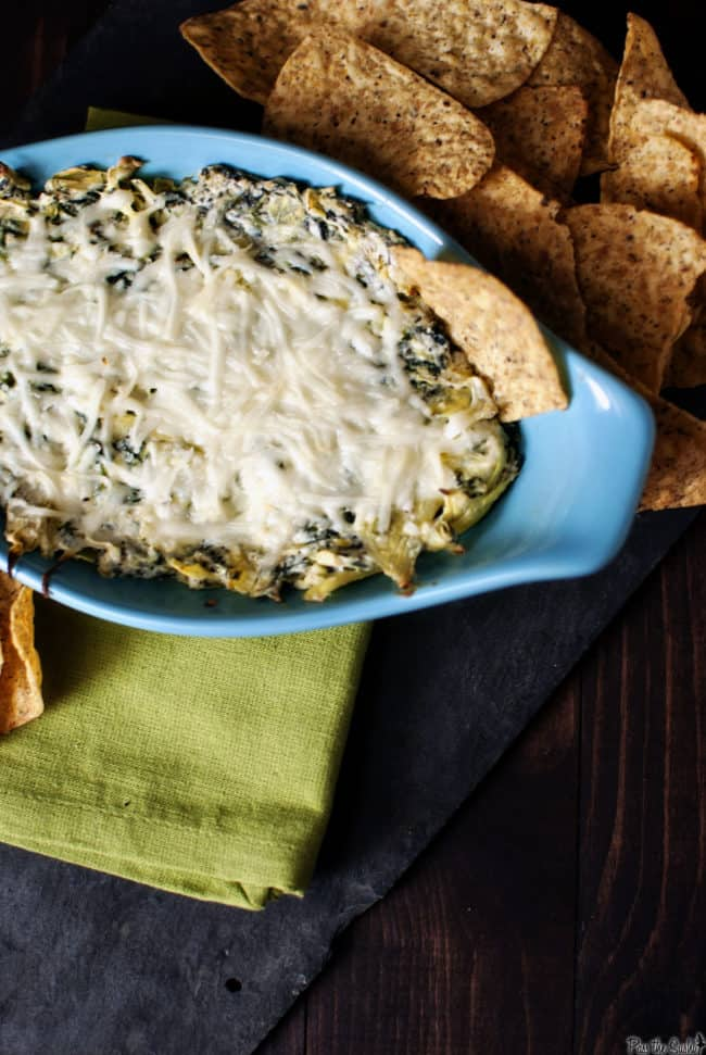 Favorite Party Foods include Warm Spinach Artichoke Dip