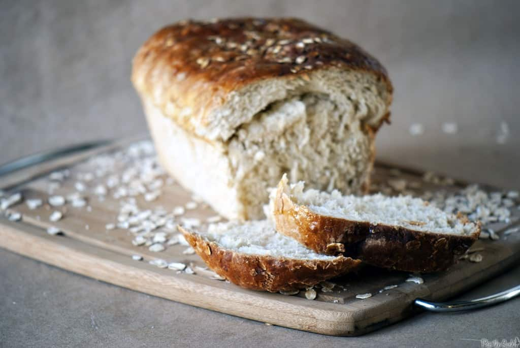 Honey oat bread is hearty sandwich bread, and perfect for toasting. The outer crust is rich and sweet, with a tender crumb inside. \\ PassTheSushi.com