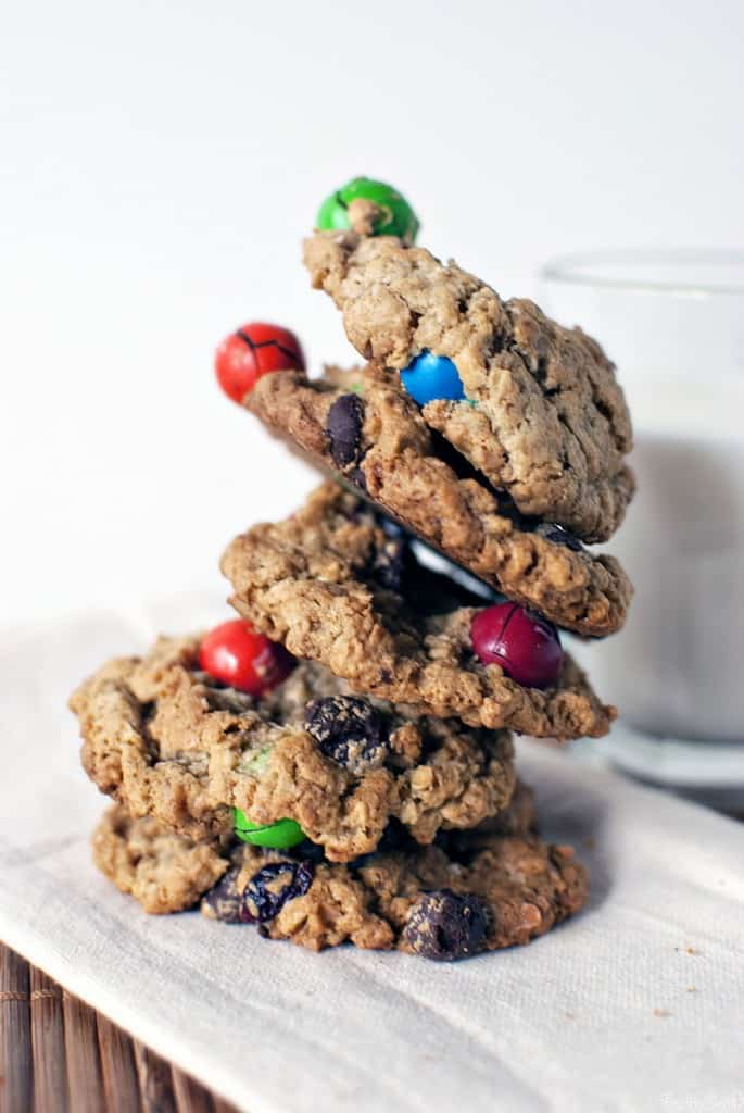 Kitchen sink cookies are chewy oatmeal cookies, loaded with peanut butter, coconut, chocolate candies, pretzels, and raisins. You know, everything but the kitchen sink! \\ PassTheSushi.com