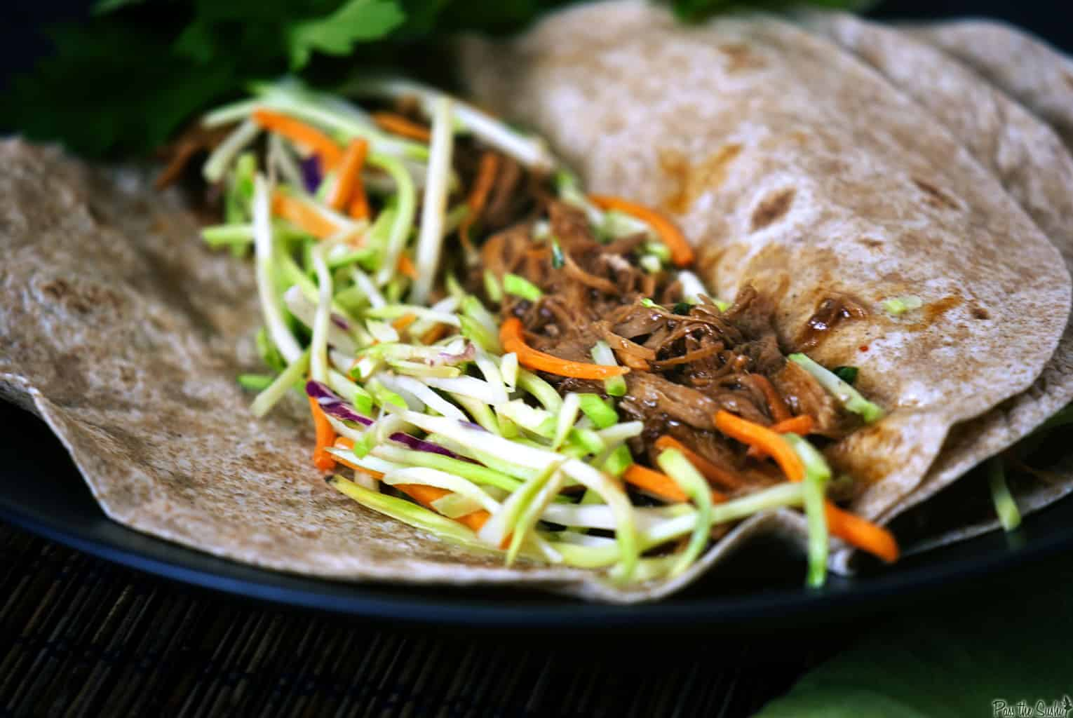 Slow Cooker Hoisin Pork Tacos with Broccoli Slaw - Pass The Sushi
