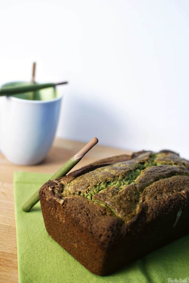 Matcha-chocolate marble cake is moist, full of flavor, and brimming with bold green color! Get the easy cake recipe on PassTheSushi.com