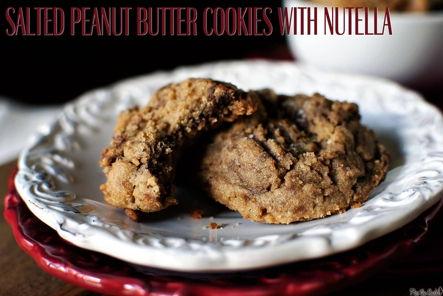 Salted peanut butter Nutella cookies will capture your heart with their chewy, chocolate-hazelnut goodness, accented with salted peanut butter. \\ PassTheSushi.com