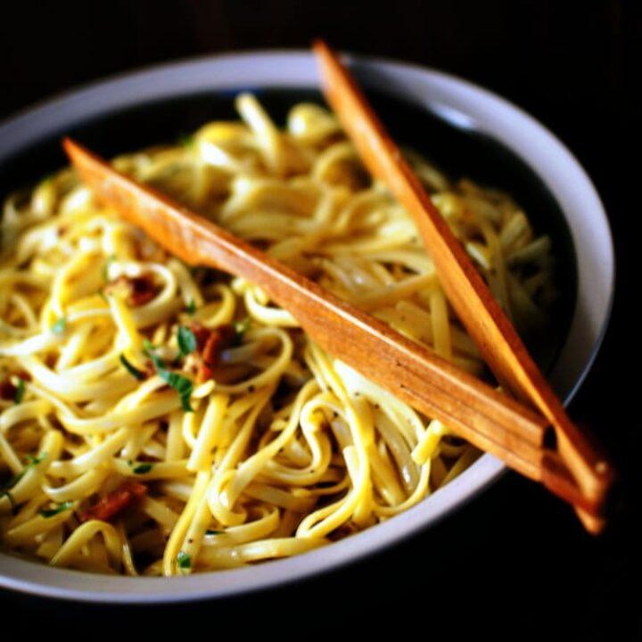 Pasta Carbonara with Saffron