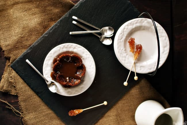 Sticky toffee pudding is a British dessert, made from dates that are baked into a soft sponge cake, then covered in a river of toffee.  PassTheSushi.com