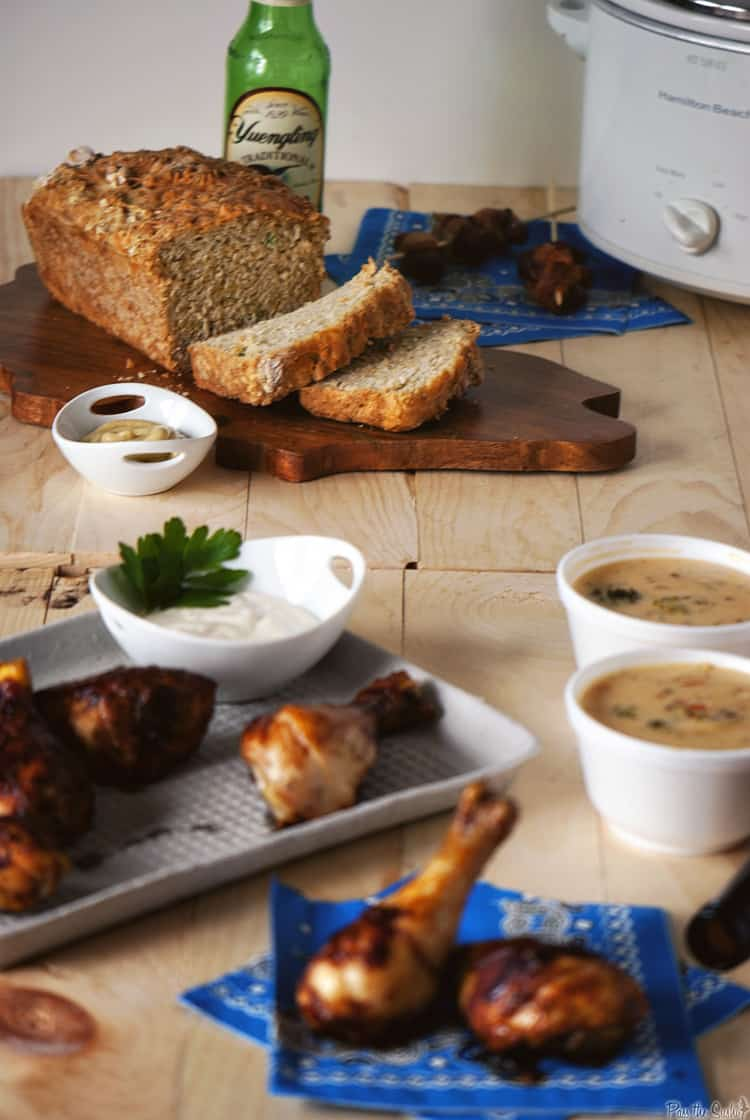 Two fantastic game day recipes, for homemade beer bread and three-cheese beer soup. Your game day needs these easy recipes!