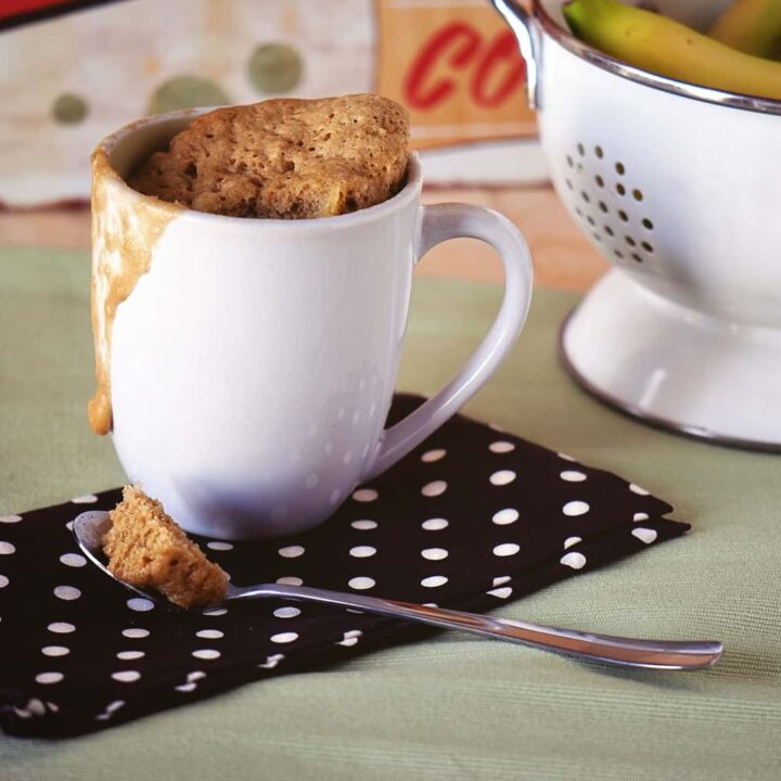 banana bread mug cake is so easy - and only takes 5 minutes to make from start to finish!