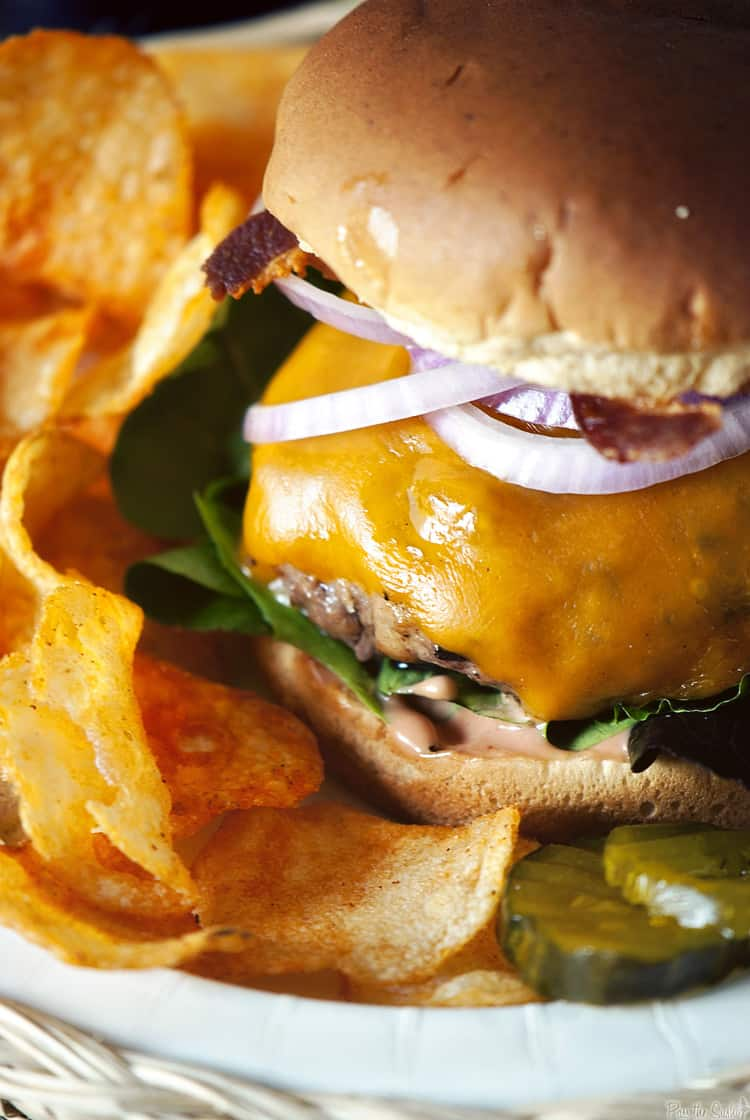 Steak House Burger with chips | Kita Roberts PassThe Sushi.com