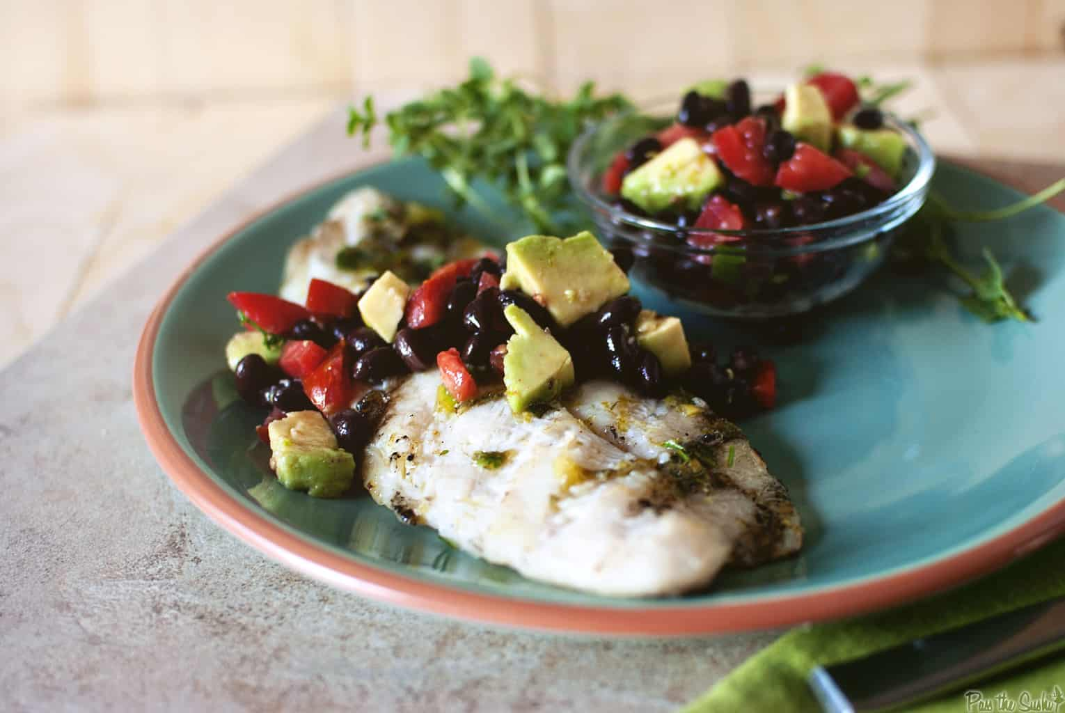Tilapia with Black Bean and Avocado relish