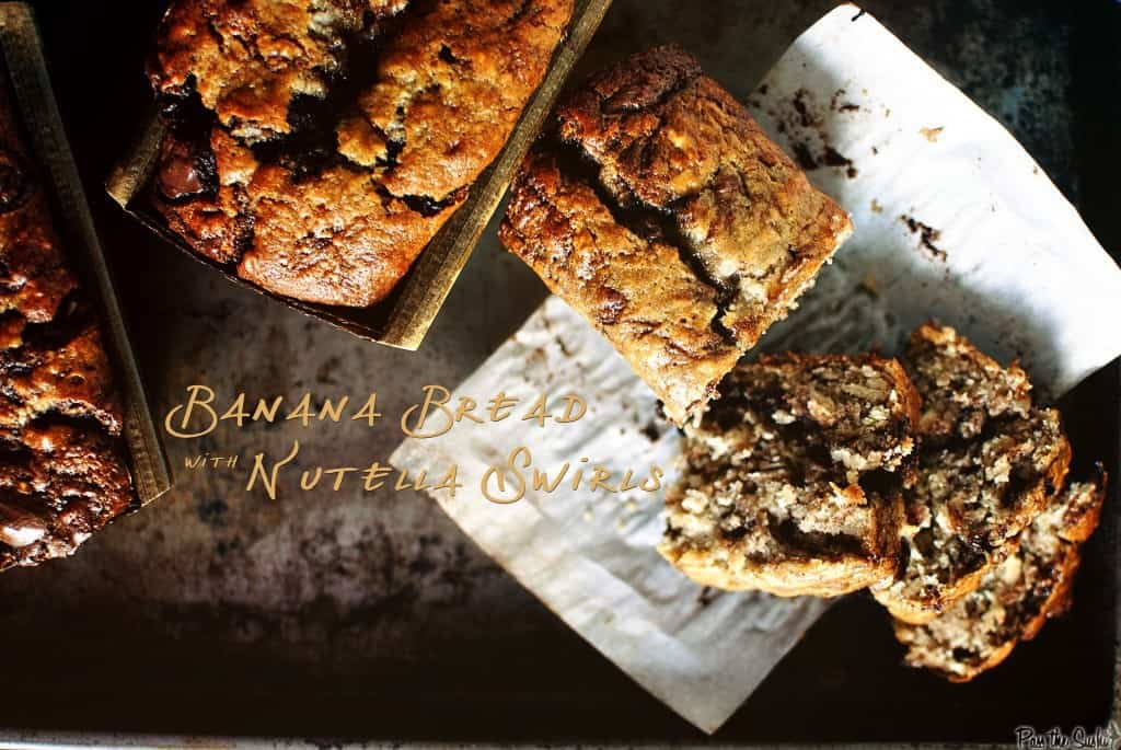 banana bread sliced to see moist crumb texture from above