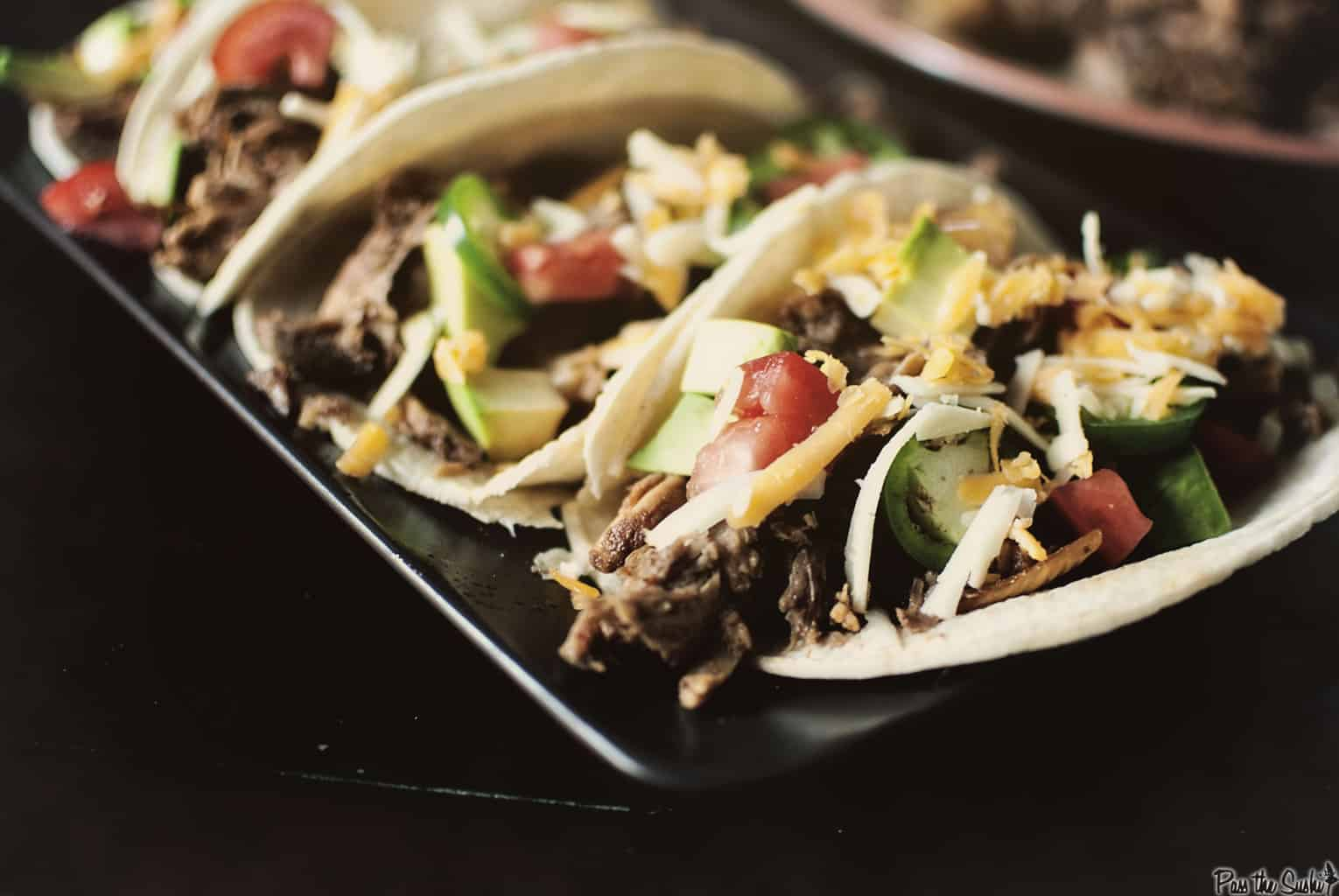 Slow Cooker Shredded Pork Tacos - Pass The Sushi