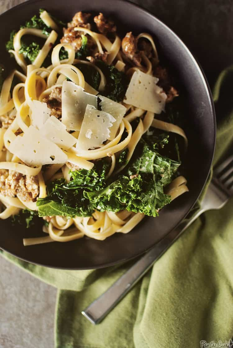 Weeknight Fettuccine with Sausage & Kale