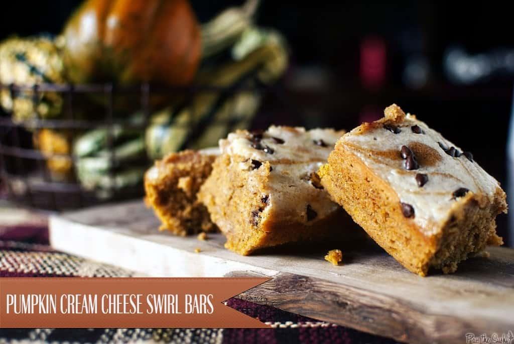 pumpkin cream cheese swirl bars | Kita Roberts PassTheSushi.com