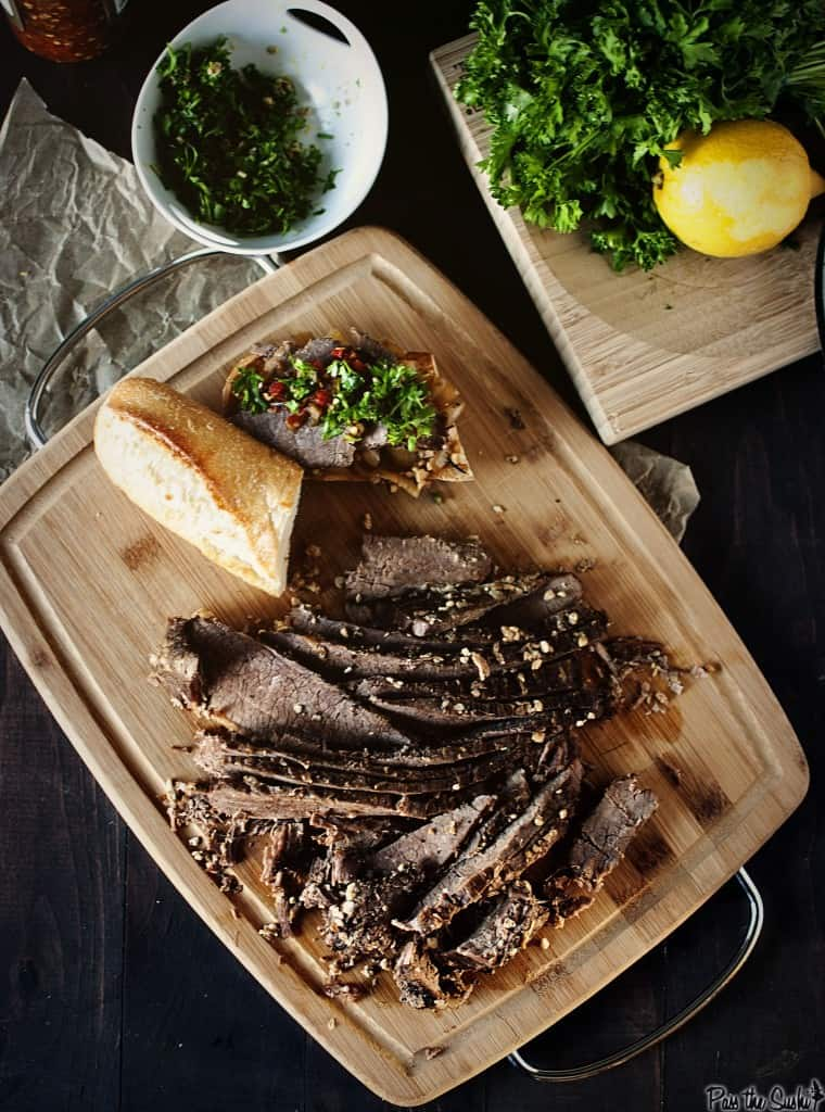 Slow Cooker Brisket {Pass the Sushi}