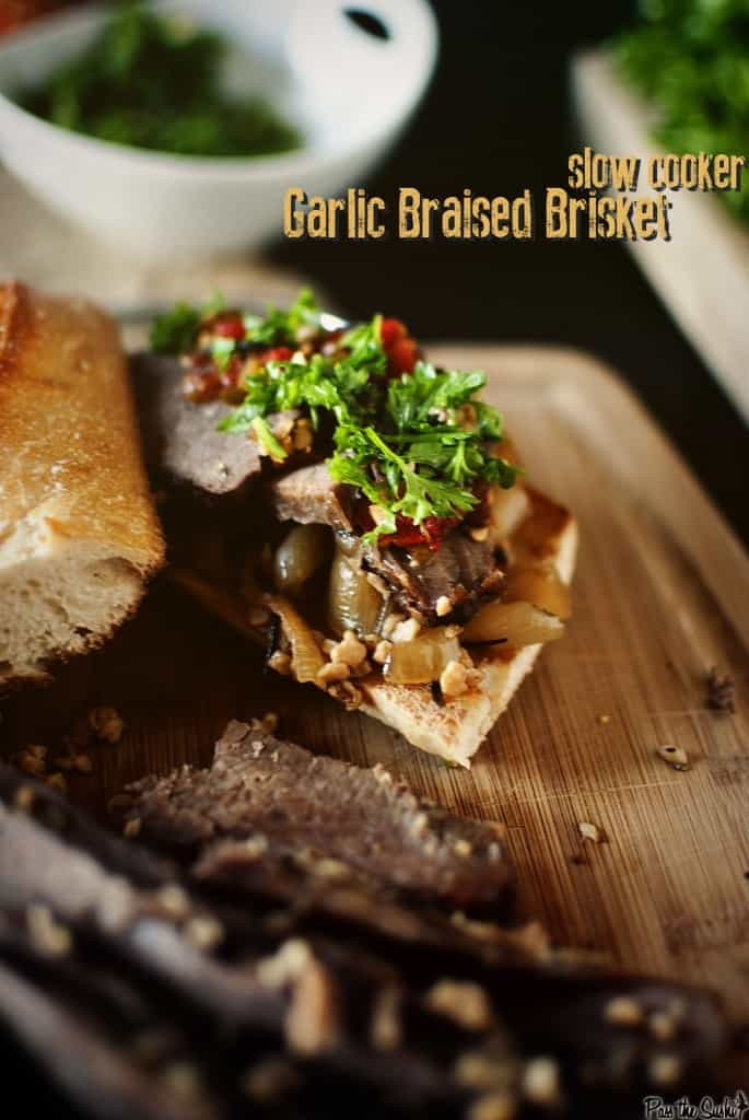 Slow Cooker Garlic Braised Brisket