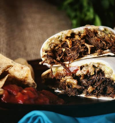 Slow Cooker Chipotle Beef Burritos