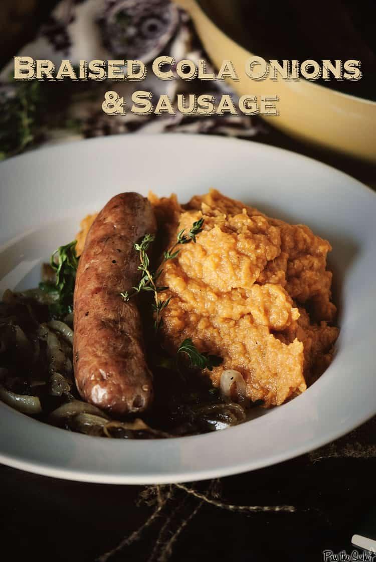 Braised Cola Onions and Sausage | Kita Roberts PassTheSushi.com