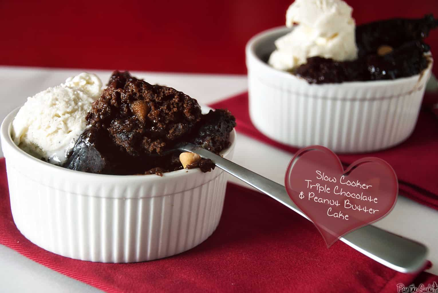 Slow Cooker Triple Chocolate & Peanut Butter Cake | Kita Roberts PassTheSushi.com