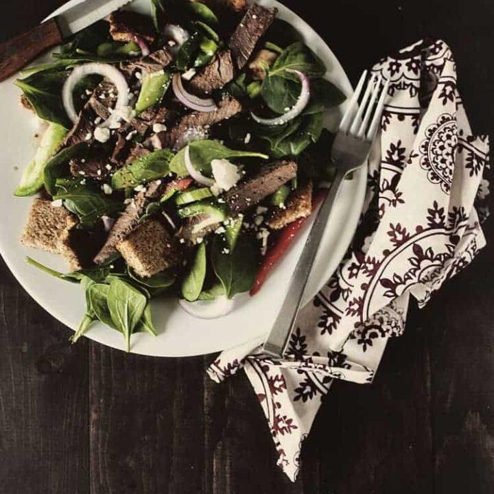 Spinach and Steak Salad | Kita Roberts PassTheSushi.com