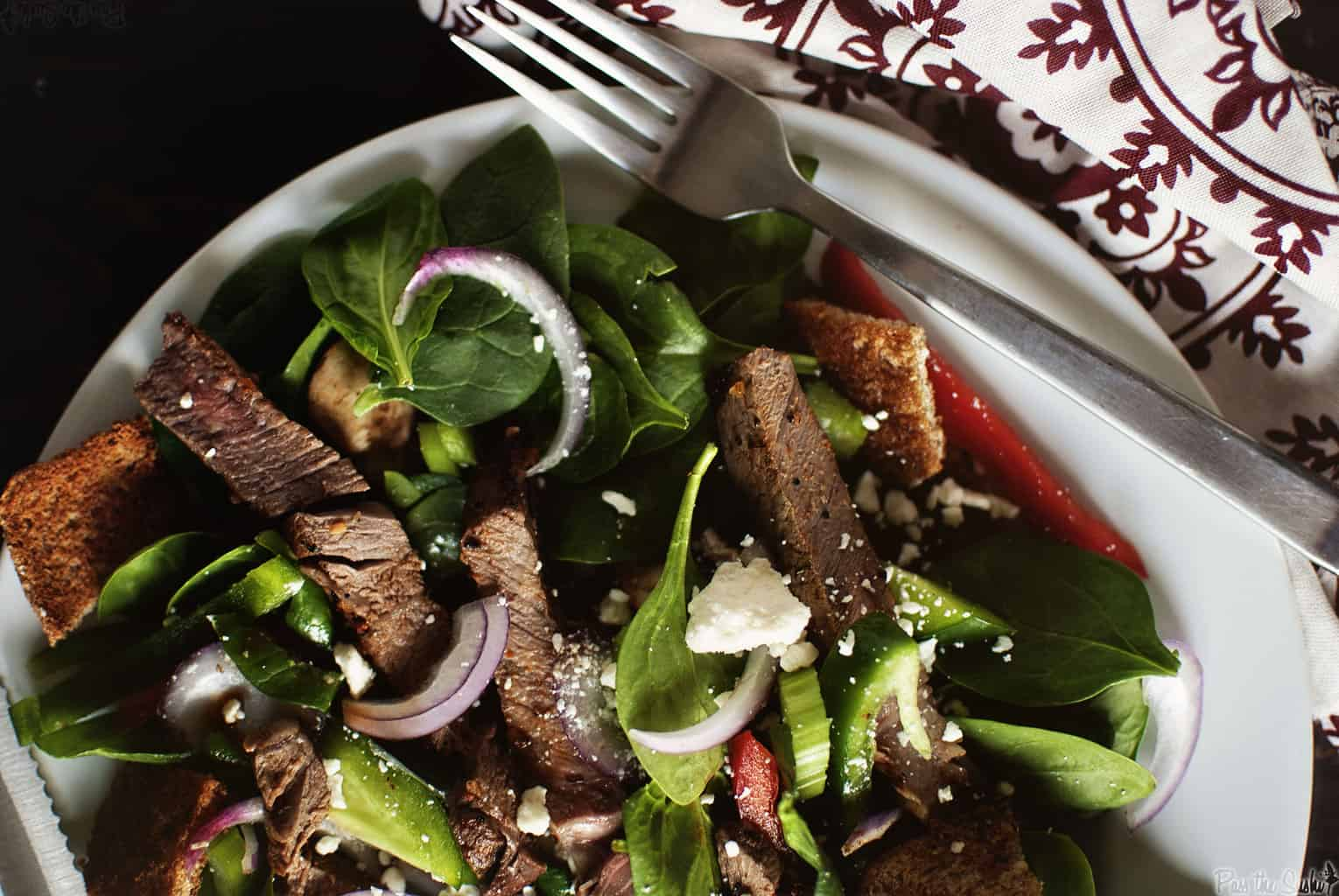 Spinach and Steak Salad | Kita Roberts PassTheSushi.com