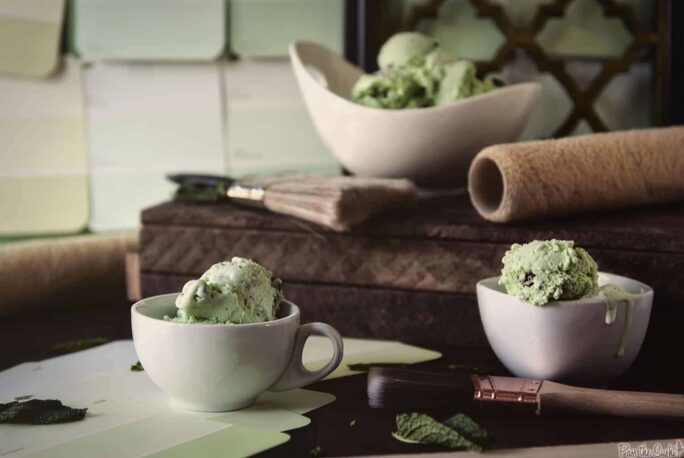 three bowls of Mint Chocolate Chip Ice Cream | Kita Roberts PassTheSushi