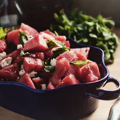 Watermelon Salad with a Balsamic Reduction