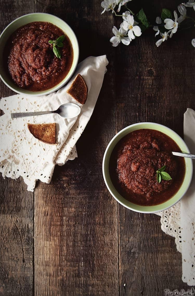 Gazpacho & Goat Cheese Croutons | Kita Roberts PassTheSushi.com