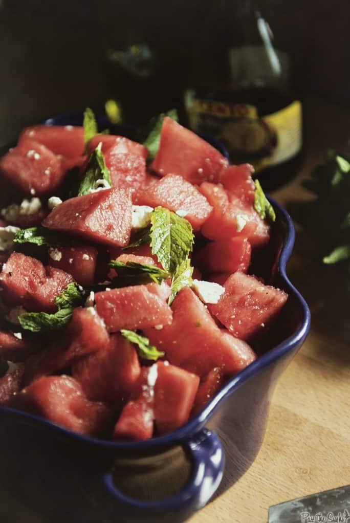 Watermelon Salad with a Balsamic Reduction | Kita Roberts PassTheSushi.com