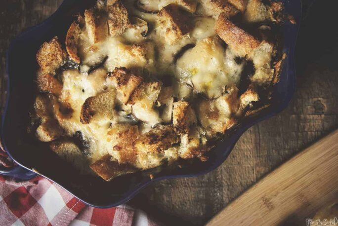 Savory Mushroom and Gruyere Bread Pudding | Kita Roberts PassTheSushi.com