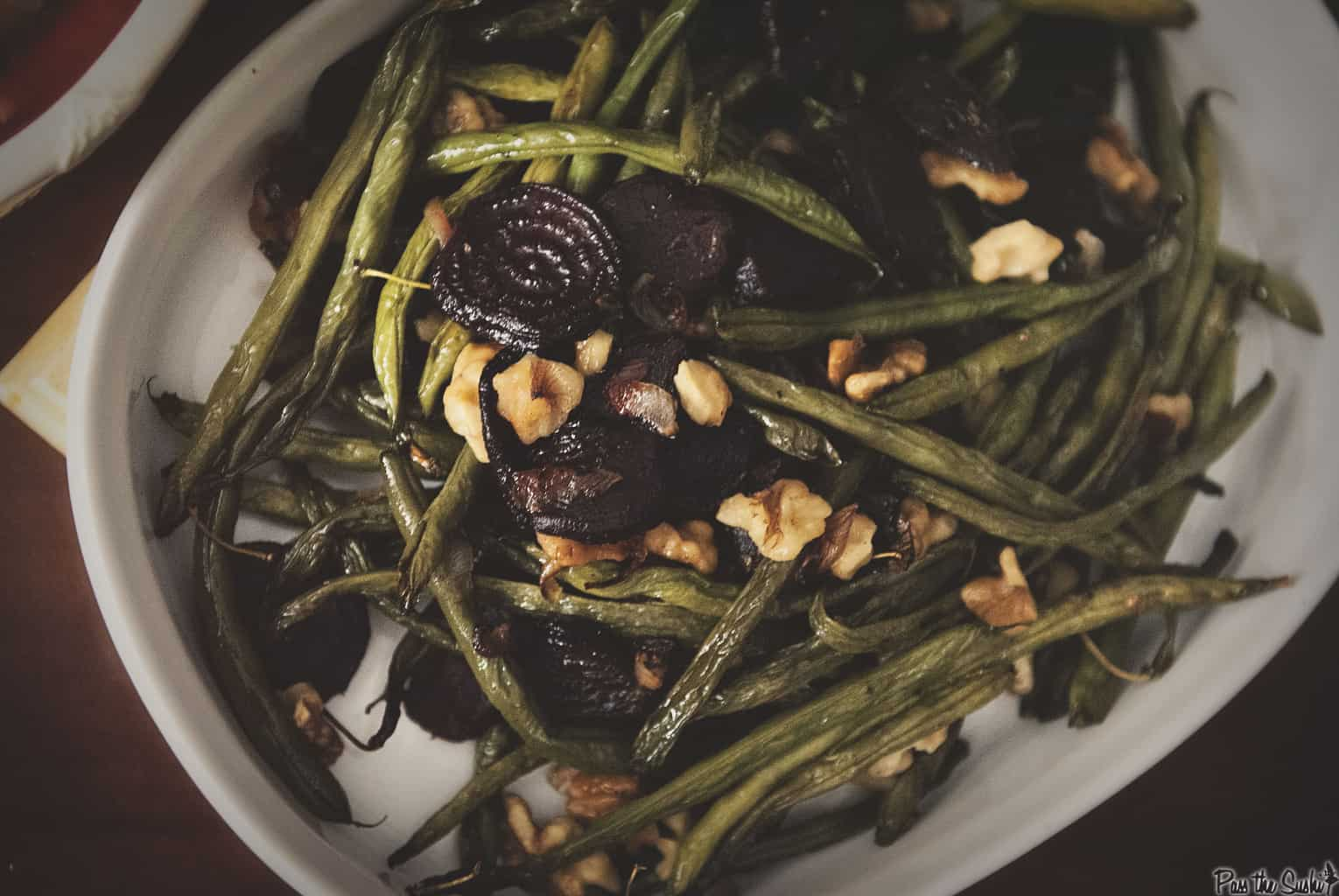 Roasted Green Beans with Beets - Thanksgiving Sides | Kita Roberts PassTheSushi.com